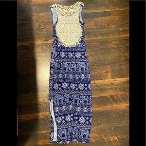 Blue and white open lace back maxi dress